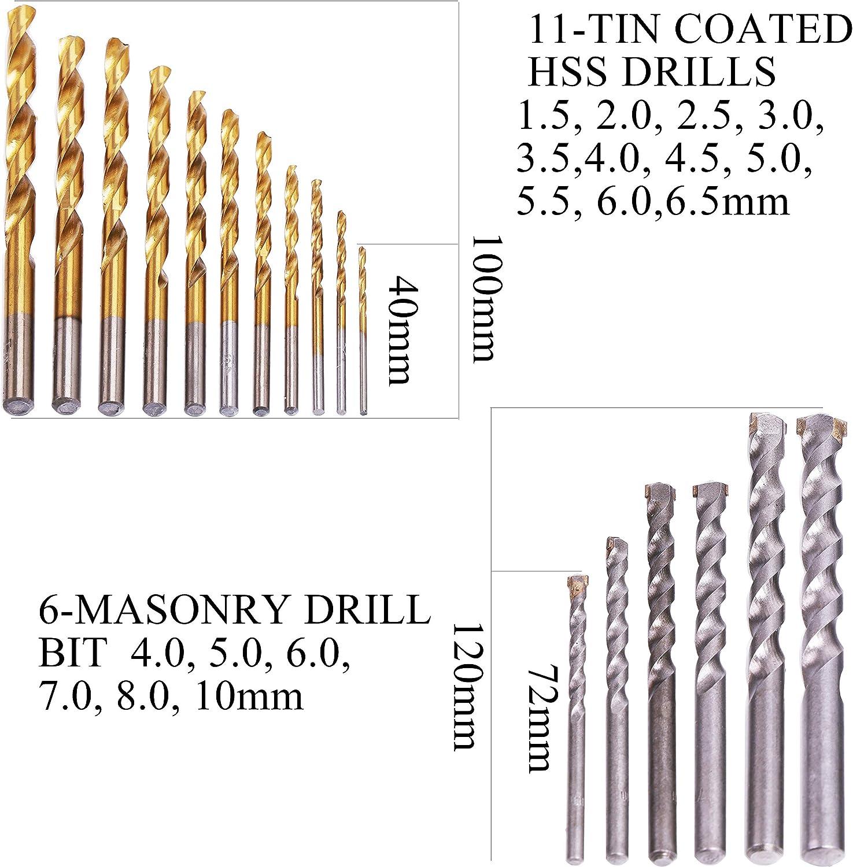 100Pc Wood Plastic Metal Masonry Drill Bits Set w Nut//Bit Drivers /& Hole Saw Kit