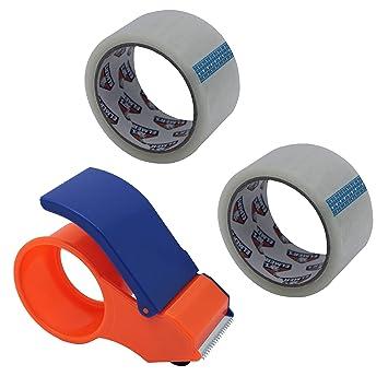 2 rollos de envío cinta de embalaje con dispensador: Amazon.es: Oficina y papelería