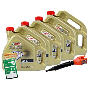CASTROL EDGE TITANIUM FSTTM 16 L Turbo Diesel 5W-40 CASTROL etiqueta cambio Embudo aceite