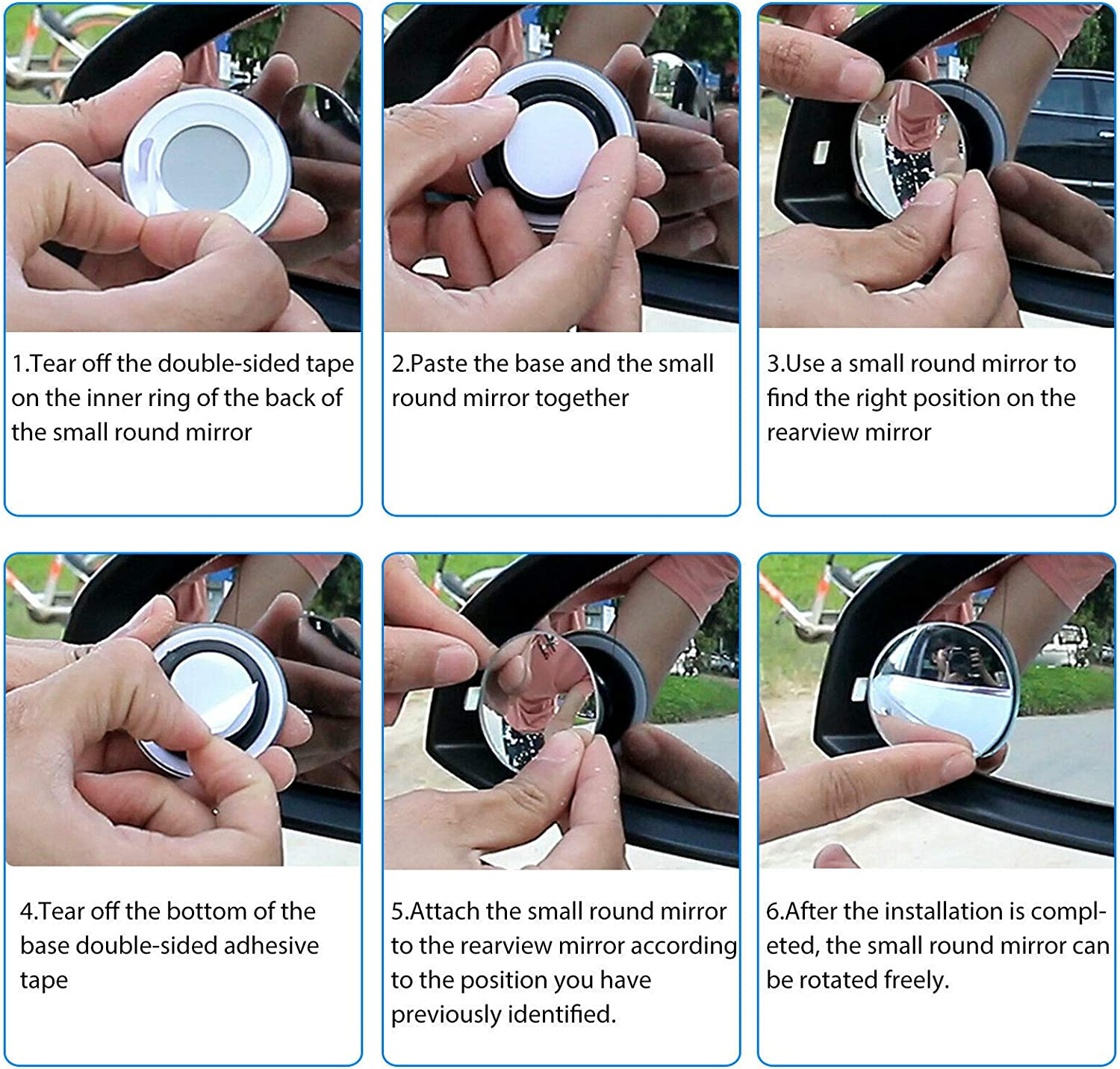 2 Round HD Glass Convex Rear View Mirror Blind Spot Mirror Pack of 4