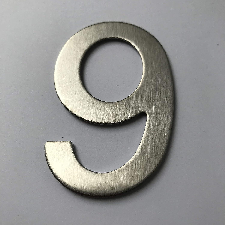 geb/ürstet imaggge.com Hausnummer oder Wohnung 7,6 cm hoch Edelstahl selbstklebend
