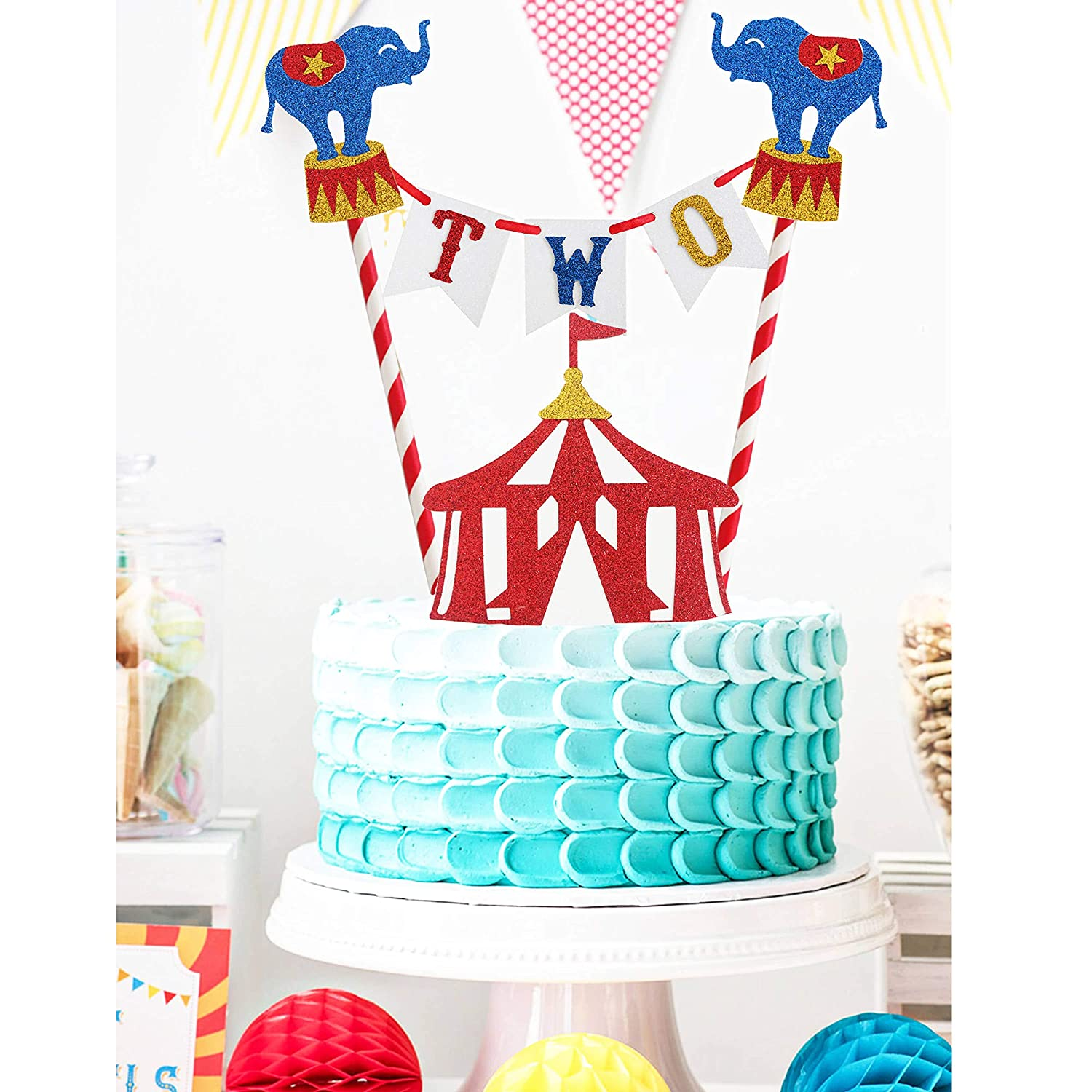 Amazing Circus Two Birthday Cake Topper Circus Theme Second Birthday Photo Funny Birthday Cards Online Eattedamsfinfo