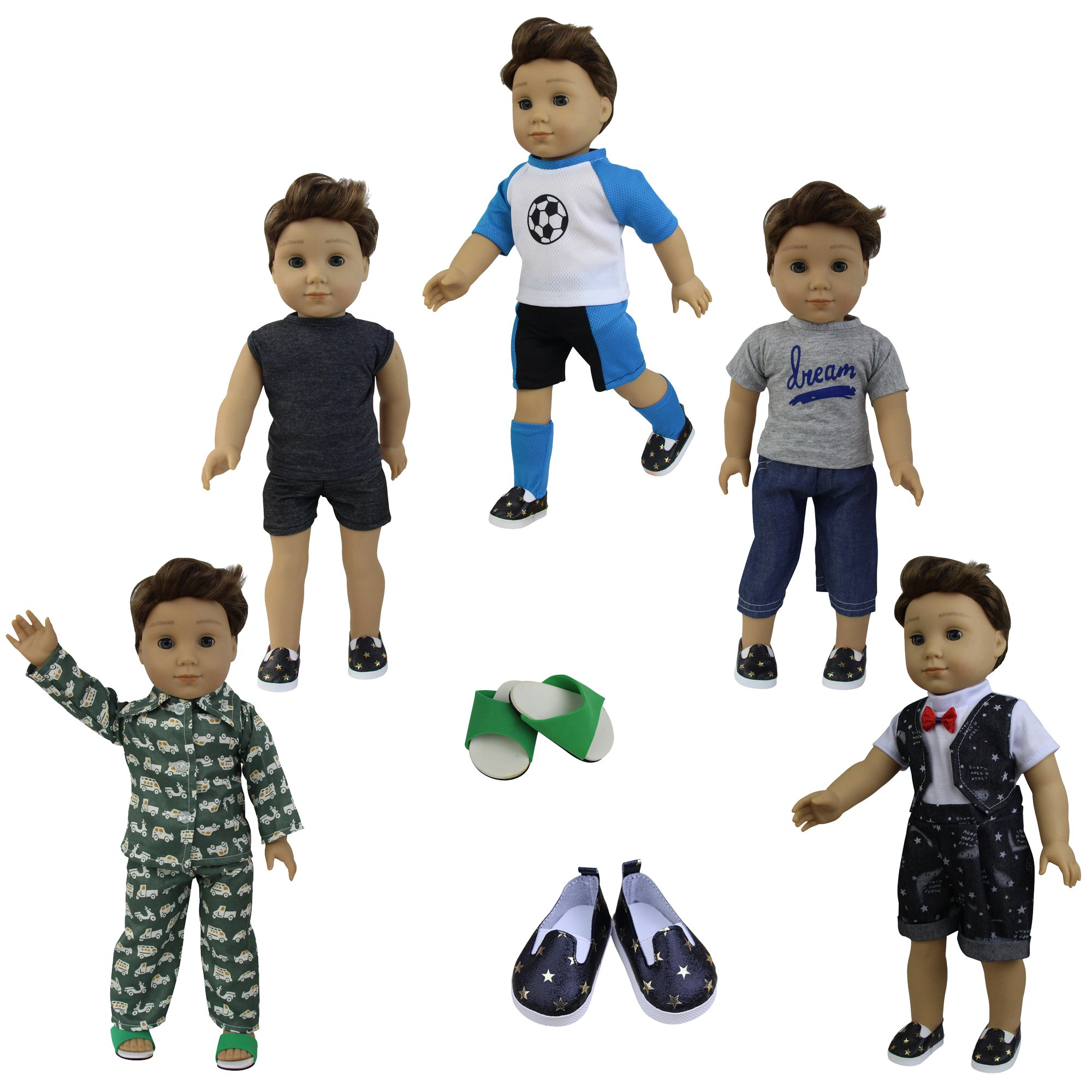 ZITA ELEMENT 5 Sets Boy Doll Clothes with 2 Pairs of Shoes for 18 Inch American Girl Boy Doll Logan Doll Accessories