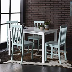 WE Furniture Modern Color Dining Room Table and Chair Set Small Space Living, 48 Inch, 4 Person, White/Sage Green