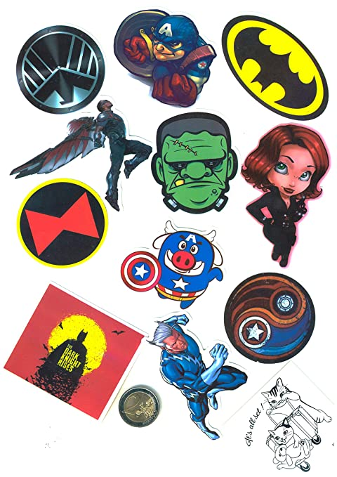 SetProducts ⭐ Top Pegatinas!⭐ Juego de 32 Pegatinas de Superhéroes Marvel Vinilos - No Vulgares - Deadpool, Hulk, Superman, Spiderman - ...
