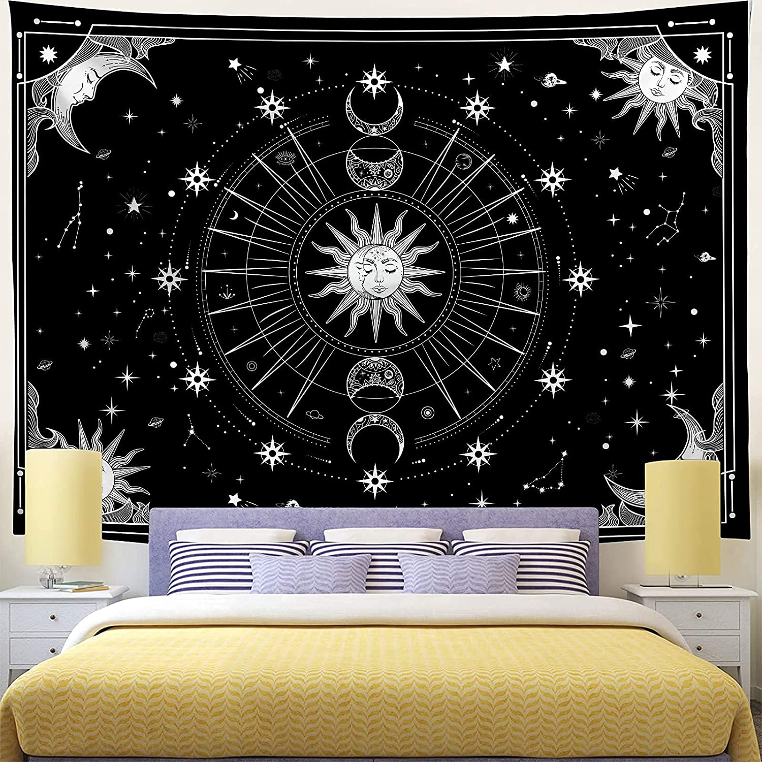 Bowavat Wall Tapestry , Sun and Moon Tapestry Psychedelic Black and White Tapestry Wall Hanging Tapestry Mystic Stars Space Tapestry for Bedroom Living Room Dorm Decor (H51.2