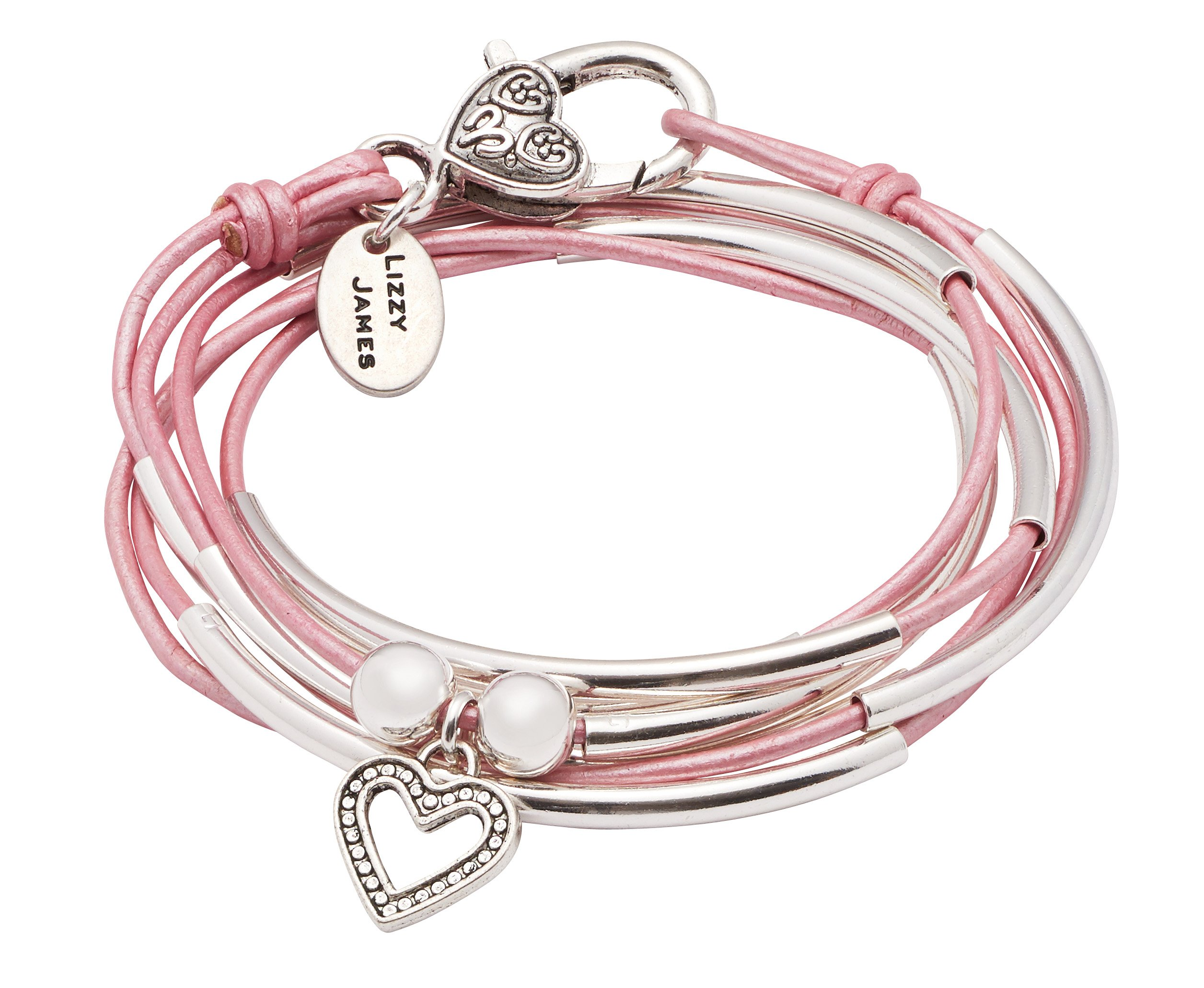 Lizzy James Girlfriend Wrap Silverplated 2 Strand Metallic Pink Leather Wrap Bracelet with Dotted Heart Charm (Small)