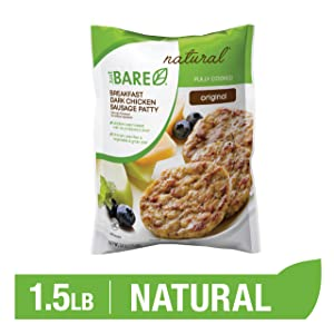 Just BARE Natural Chicken Breakfast Sausage Patties | Fully Cooked | Original | Frozen | 1.50 LB