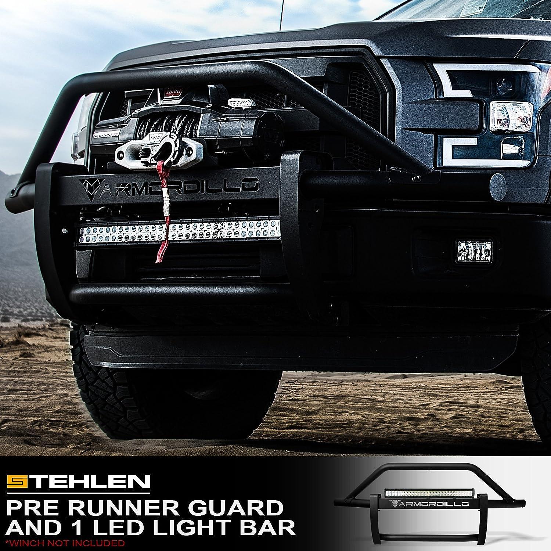 Armordillo 733469494676 Modular Pre-Runner Bumper Grille Guard with 32 60x CREE LED Light Bar Matte Black For 06-14 Ford F150