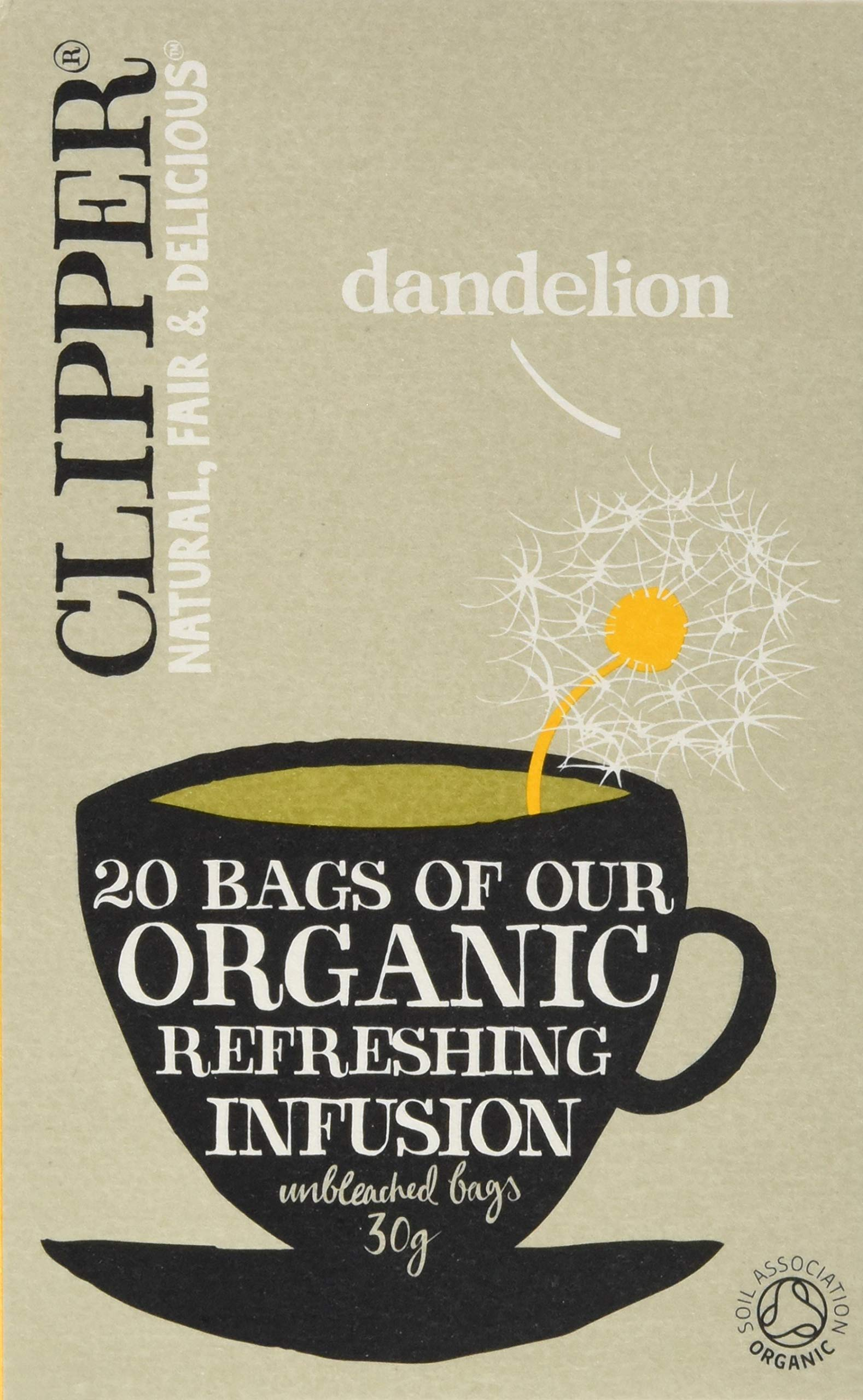 Clipper Organic Dandelion Infusion 20 Bags (Pack of 6, Total 120 Teabags)