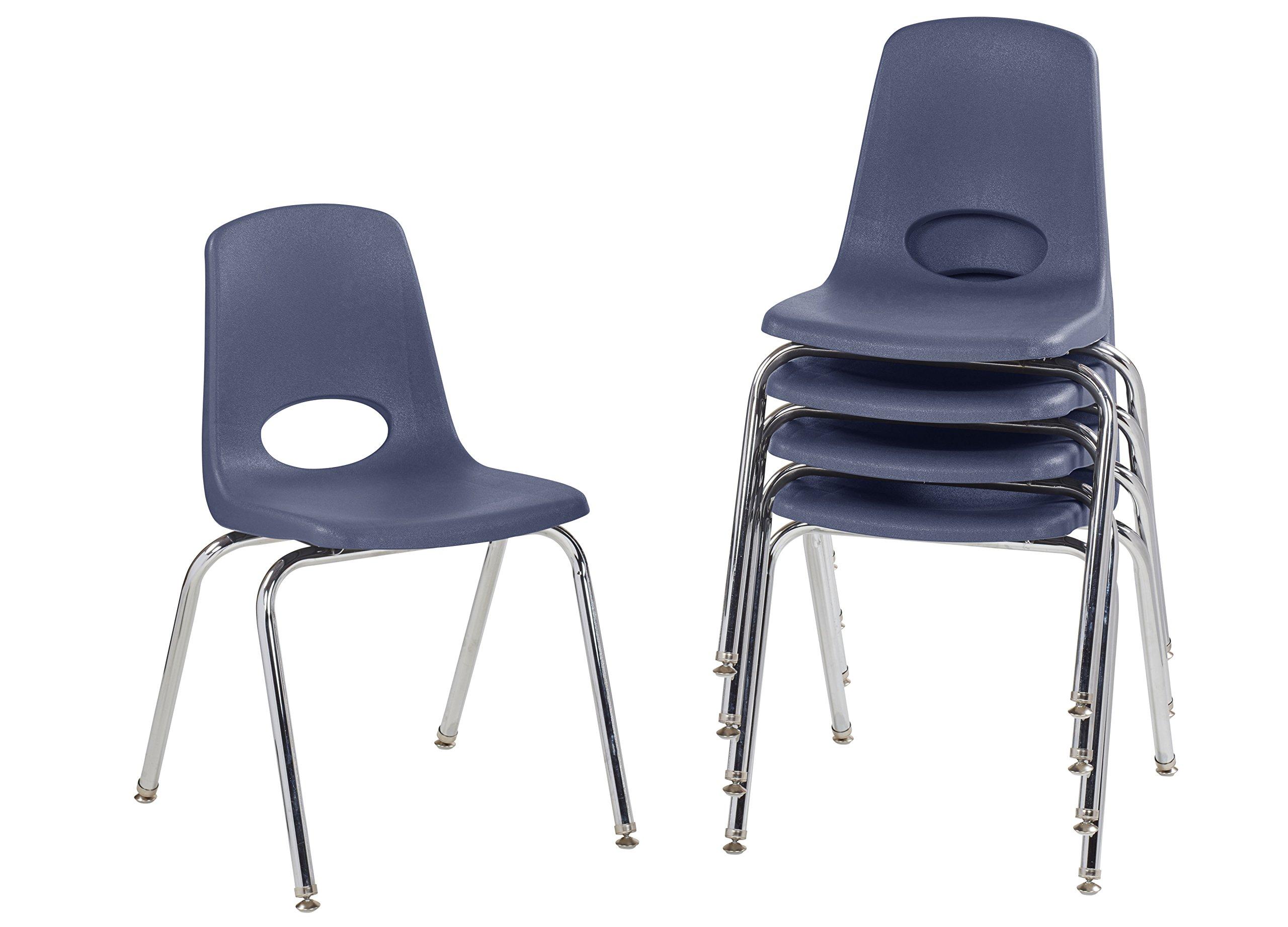 ECR4Kids 18'' School Stack Chair, Chrome Legs with Nylon Swivel Glides, Navy (5-Pack)