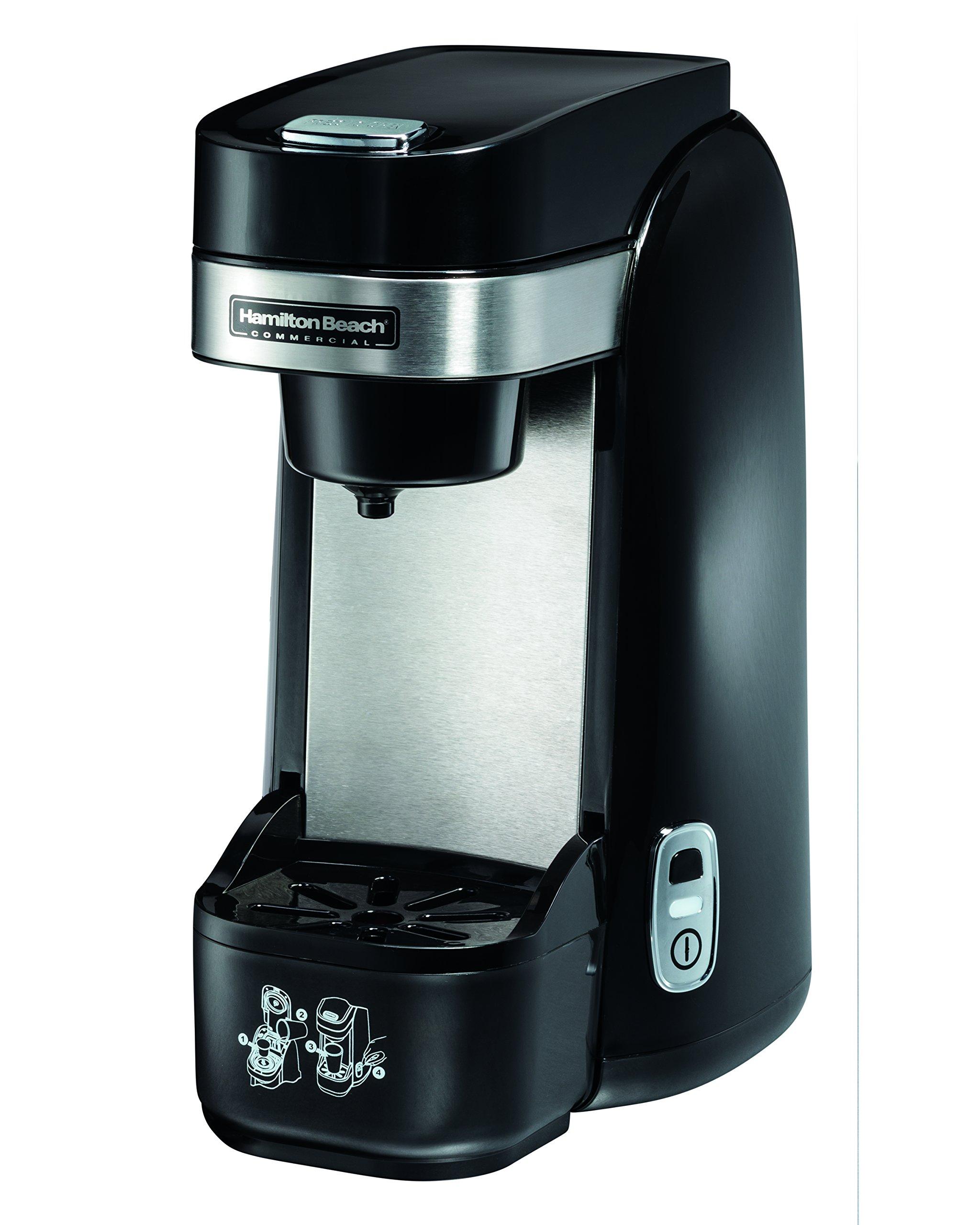 Hamilton Beach Commercial HDC310 Deluxe Single-Serve Coffeemaker, Deluxe Single-Serve Pod Coffeemaker, Auto Shutoff, Drip Tray, Black/Stainless Steel by Hamilton Beach