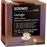 Amazon Brand - Solimo Lungo Capsules 50 CT, Compatible with Nespresso Original Brewers