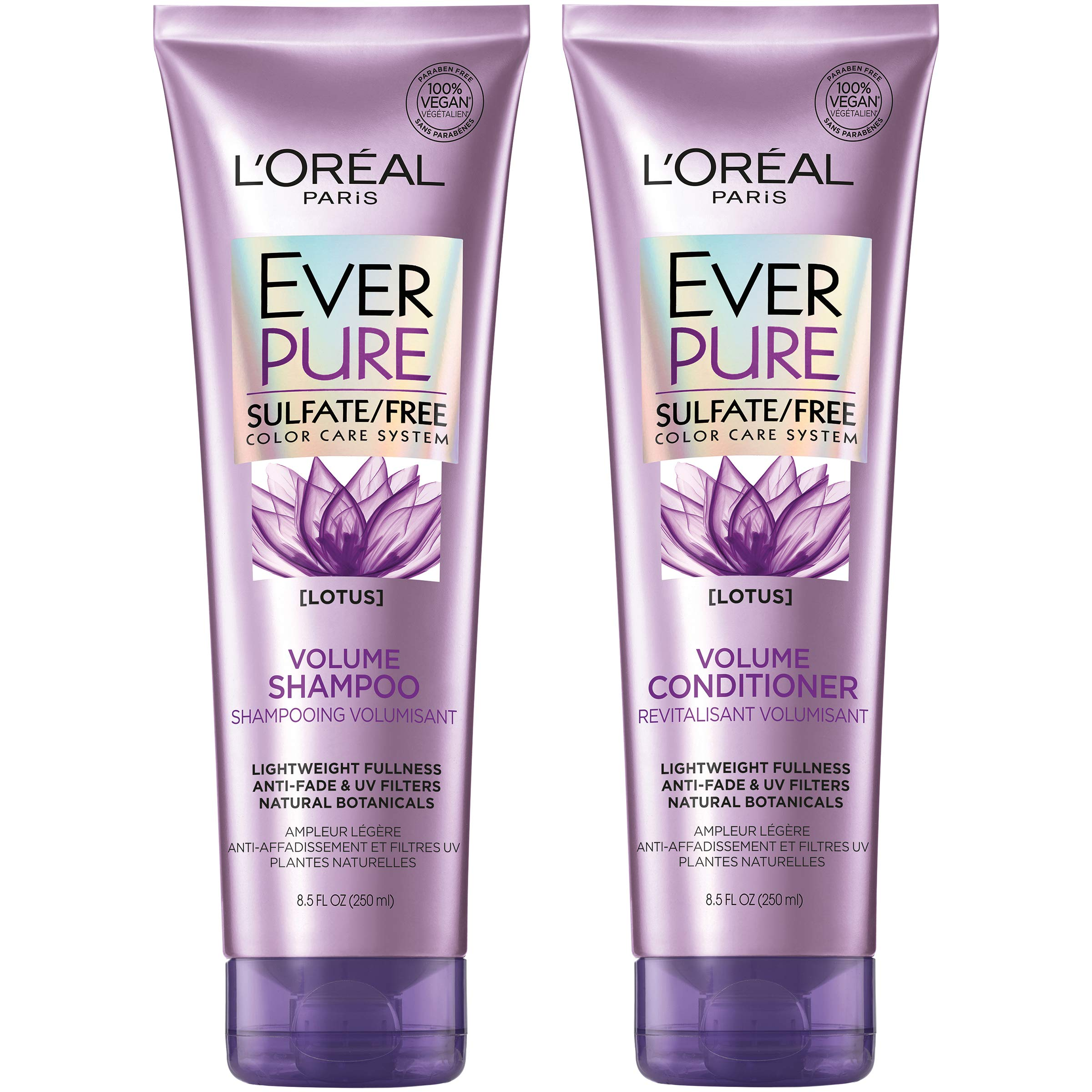 L'Oreal Paris Hair Care EverPure Volume Sulfate Free Shampoo & Conditioner Kit for Color-Treated Hair, Volume + Shine for Fine, Flat Hair, (8.5 fl. oz. each) by L'Oréal Paris