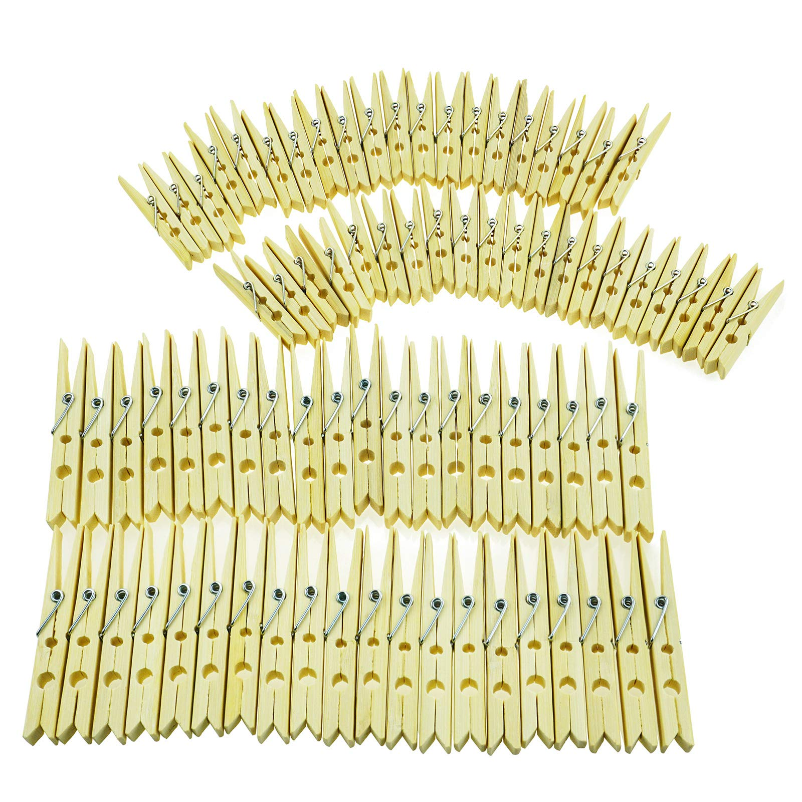 neeyeetag Natural Bamboo Heavy Duty Clothes Pins/Pegs/Clips, Large Size 3.74'' 40 Pack and Medium Size 2.36'' 40 Pack