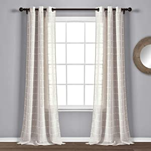 "Lush Decor Beige Farmhouse Textured Grommet Sheer Window Curtain Set (84"" x 38"")"