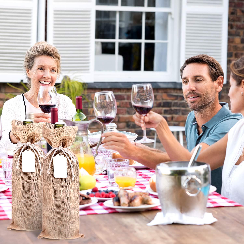 3e4cc6575 5 Pack Bolsa de Vino de Arpillera Bolsa de Regalo de Botella de Vino con 5  Piezas de Etiqueta de Madera y 10 Piezas de Cuerdas para Favores de Fiesta  de ...