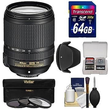 【クリックで詳細表示】Nikon 18???140?mm f / 3.5???5.6?G VR DX ED af-s nikkor-zoomレンズwith 64?GB SDカード+ 3フィルタ+フードキットfor d3200、d3300、d5300, d5500、d7100、d7200カメラ
