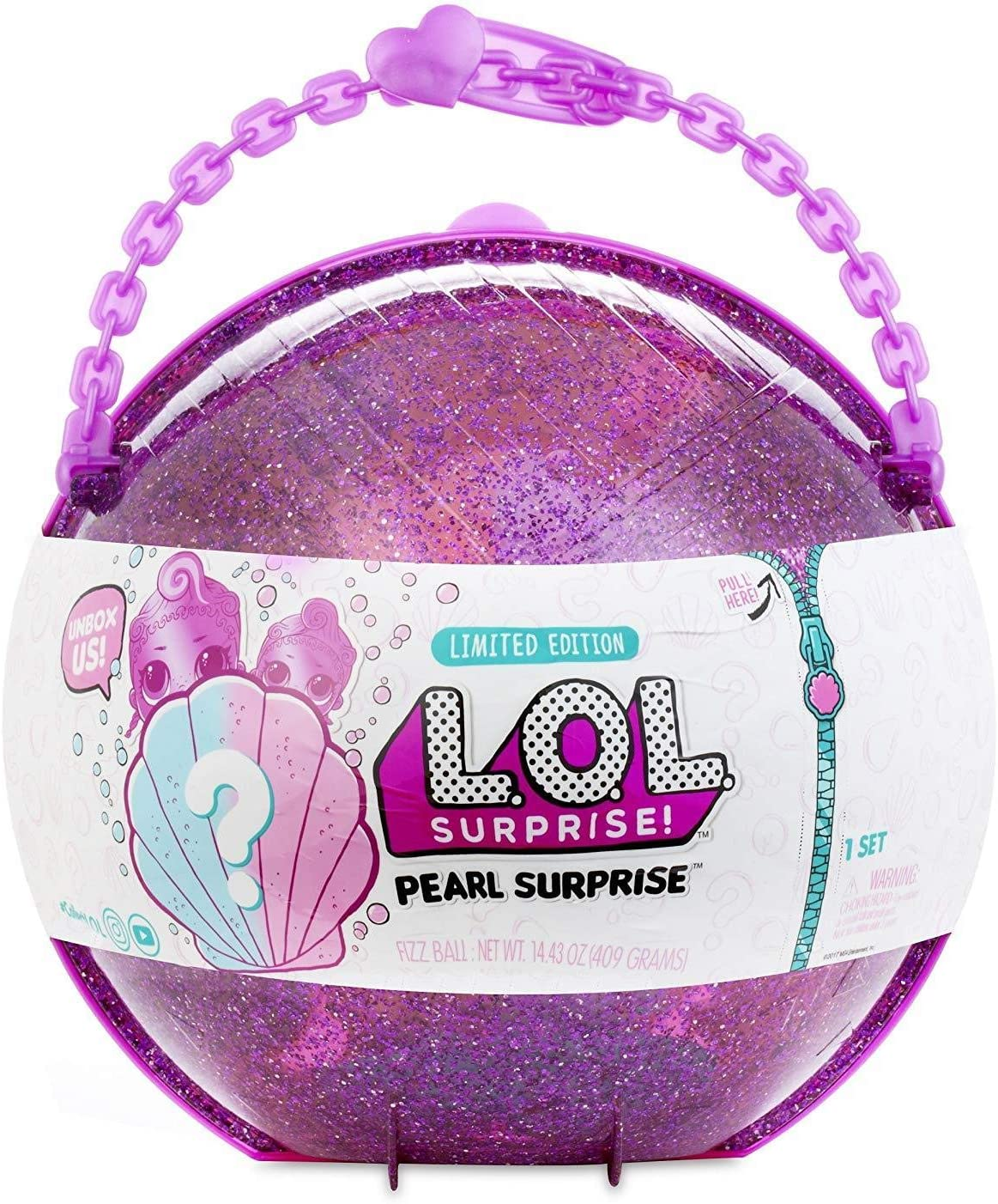 Image of a ball surprise toy in glittery pink