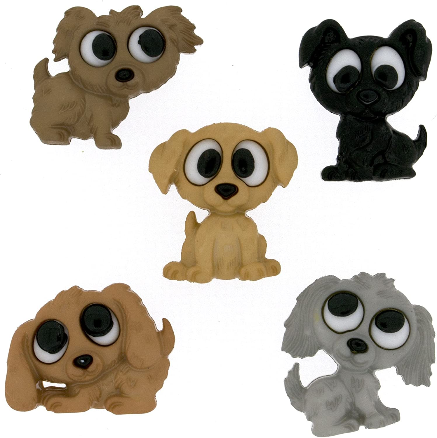 17/ x 21/  Bottone/ Playful Puppies 5pz Dress it Up / 22/ x 17/ mm plastica