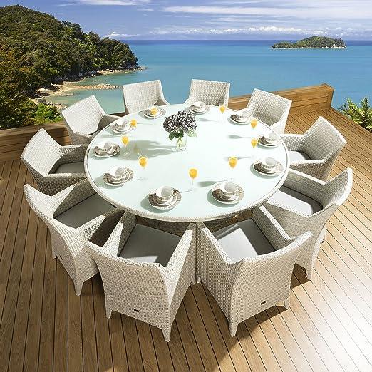 Ratán jardín juego de comedor mesa redonda + 10 Grande para silla sillas piedra 2 m: Amazon.es: Jardín