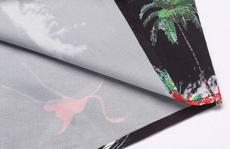 Daupanzees Mens Tropical Fruits Short Sleeve Aloha Hawaiian Shirts