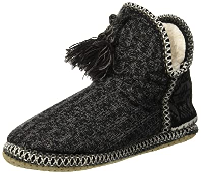 7402e9f6e778 COFACE Ladies Womens Indoor Knitted Slipper Boots with Cosy Faux Fur Lined  Non-Slip Sole