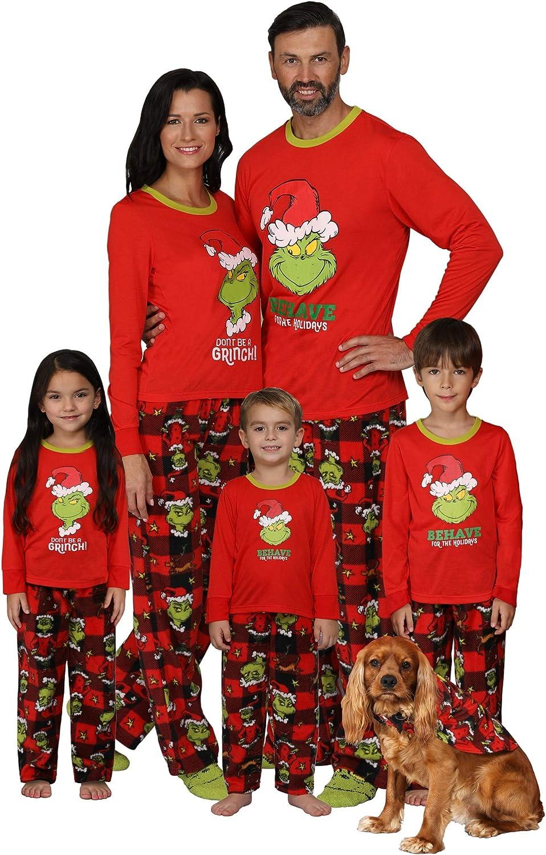 Dr. Seuss Grinch Christmas Pajamas - Matching Family Adult Kids Costume Pajama Sets: Clothing
