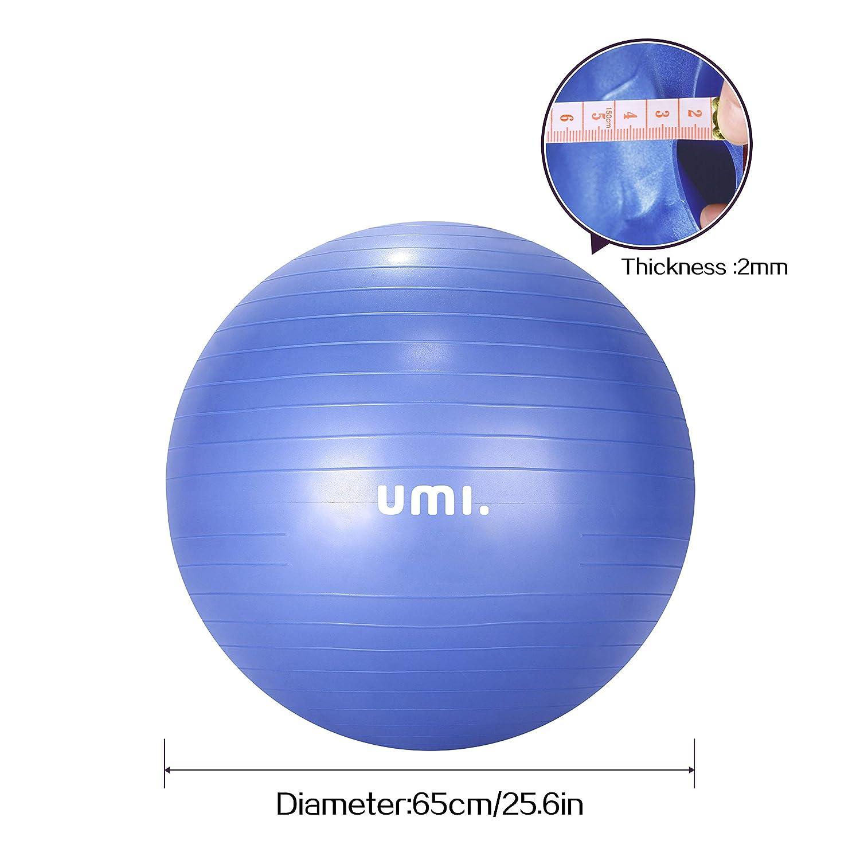 UMI Balance /Übung Core-Training Maximalbelastbarkeit bis 500kg Essentials Gymnastikball Anti-Burst Sitzball 65cm 75cm Fitnessball mit Ball Pumpe Pezziball f/ür Yoga Pilates