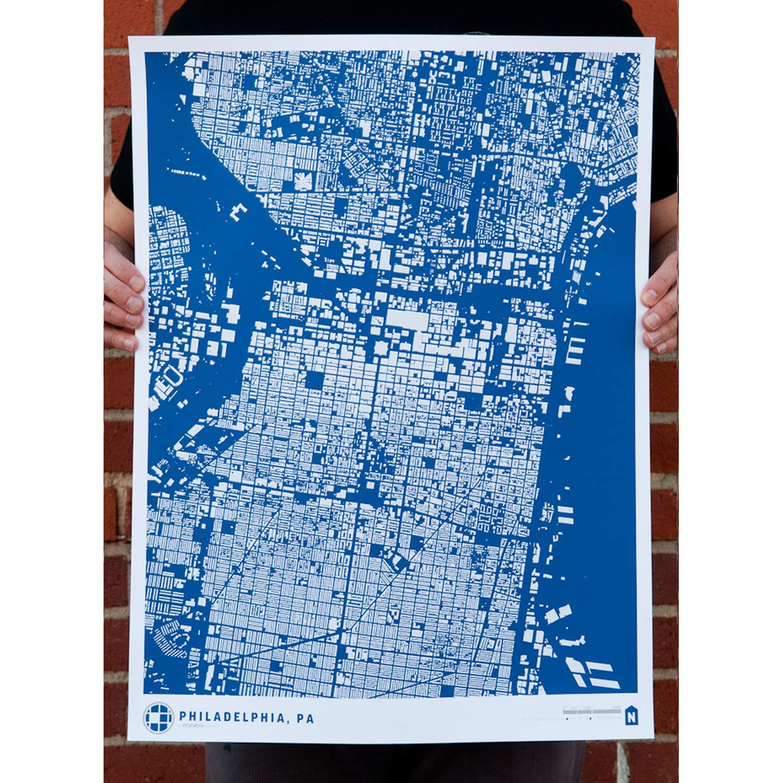 CityFabric Print Buildings of Philadelphia Pennsylvania Modern Neighborhood Map Poster Wall Art for Bedroom Kitchen and More Living Room Blue, 18x24