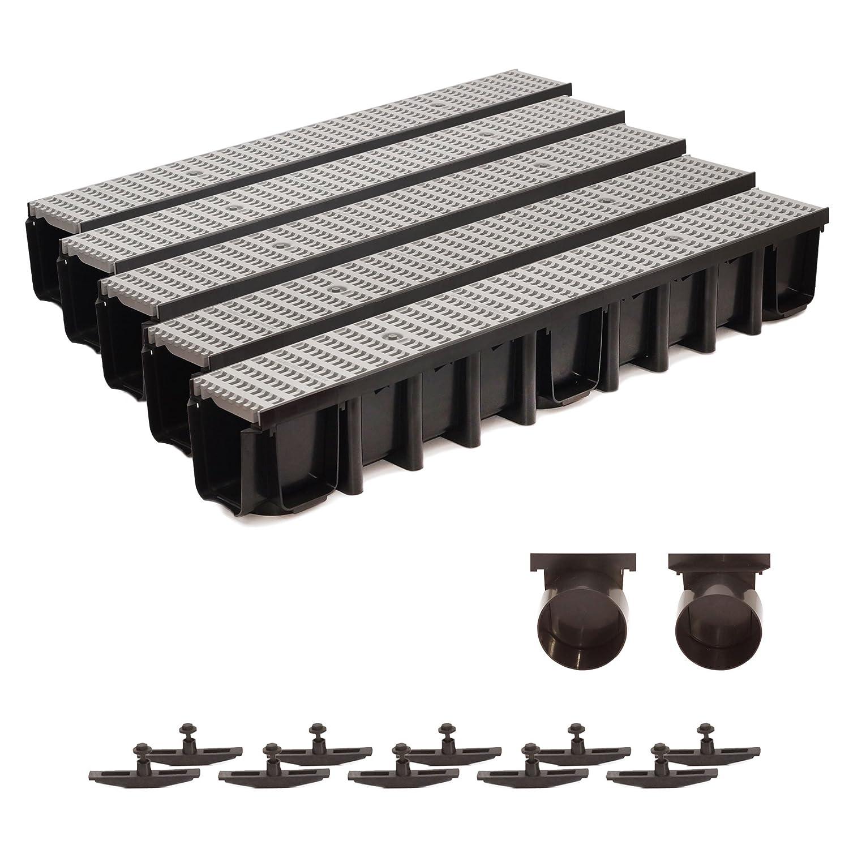 5m Entwässerungsrinne 148mm Einlaufkasten Stegrost Kunststoff inkl. Zubehör (grau)