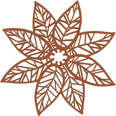 Rachael Ray Silicone Heat Resistant Multi-Use Leaf Design Trivet, Burnt Orange