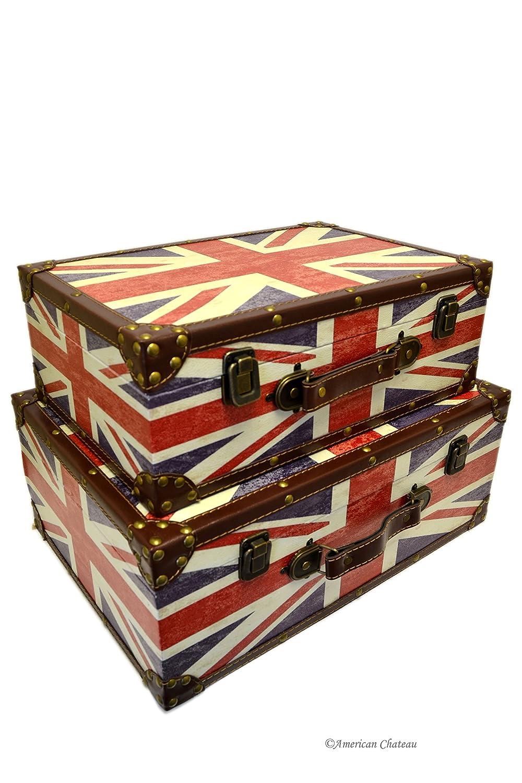 Amazon.com: Retro Set 2 Wood Nesting Union Jack Suitcase British Flag Home  Storage Boxes: Home U0026 Kitchen Gallery