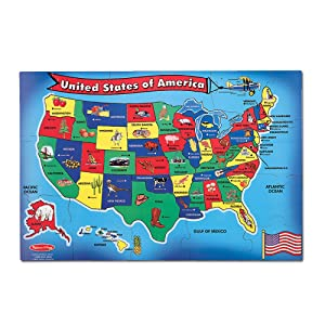 "Melissa & Doug USA (United States) Map Floor Puzzle (Wipe-Clean Surface, Teaches Geography & Shapes, 51 Pieces, 24"" L x 36"" W)"