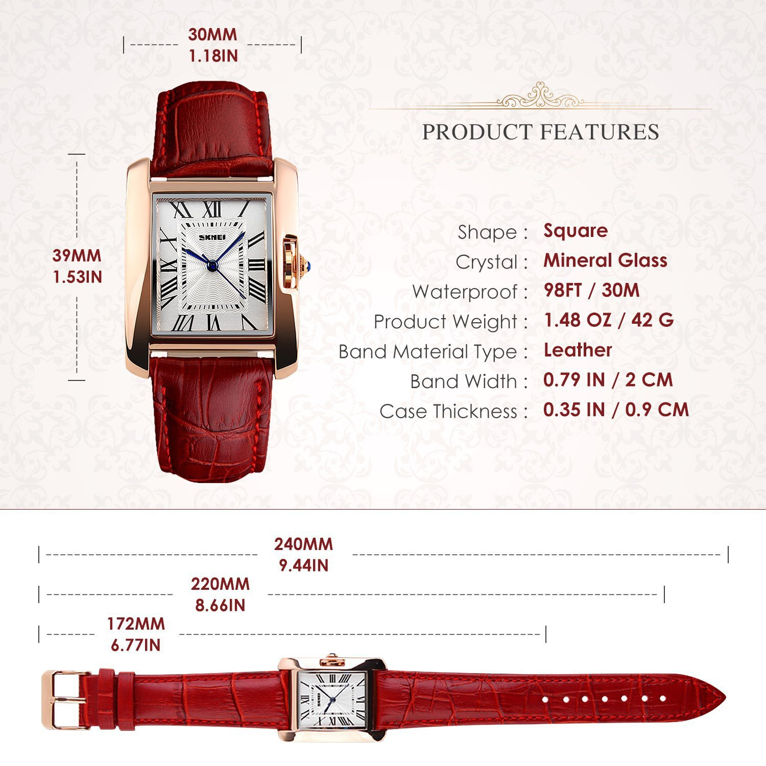 Amazon.com: Carrie Hughes Womens Rome Square Quartz Watch Leather Band Waterproof Watch CH008: Watches