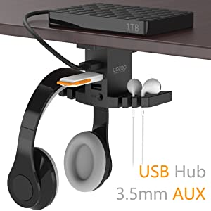 Headphone Stand with USB Hub COZOO Under Desk Headset Hanger Mount Dual Hook Holder with 3 USB Ports(usb3.0+usb2.0) and 3.5mm Jack AUX Port(Audio/Mic) External Sound Card for Gamer, DJ Earphone