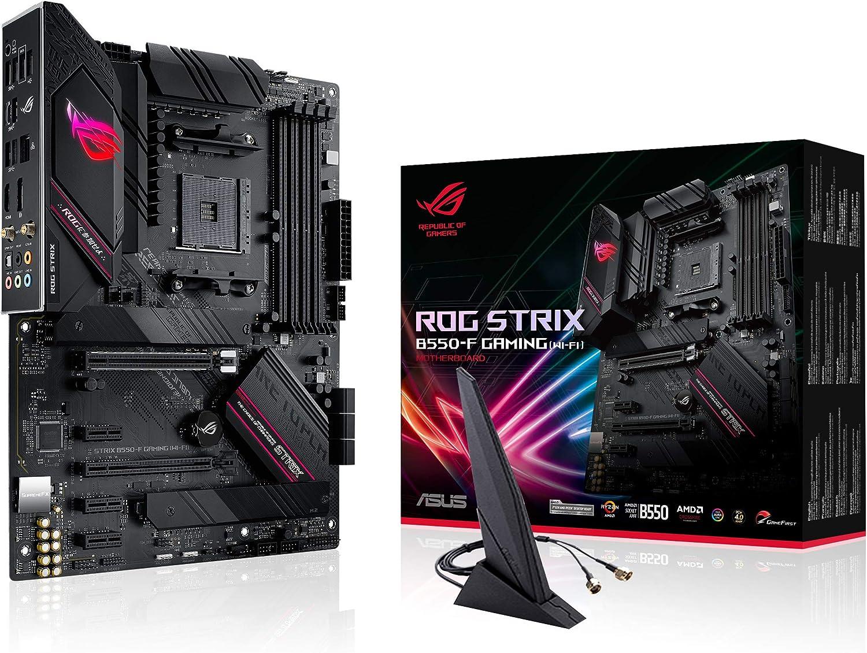 ASUS ROG STRIX B550-F GAMING (WI-FI) - Placa Base Gaming ATX AMD AM4 con VRM de 14 fases, PCIe 4.0, 2,5 Gb LAN, WiFi 6, Dual M.2, Micrófono cancelación ruido, USB 3.2 Gen 2 e iluminación RGB Aura Sync