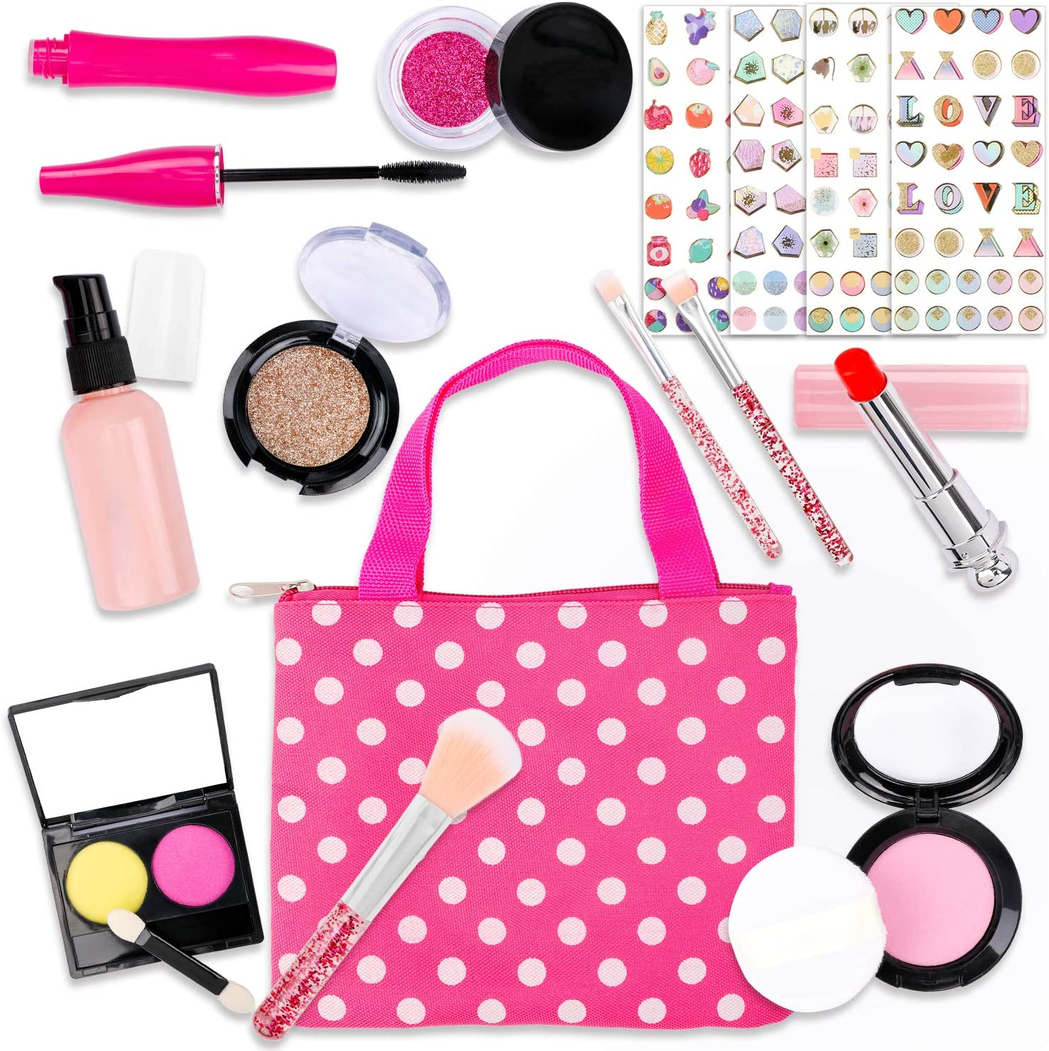 Konsait 17 Piece Pretend Play Makeup Kit for Toddlers Little Girls and Kids with Polka Dot Handbag Pretend Play Makeup Toys for Birthday Christmas New Year Valentine Gift (Not Real )