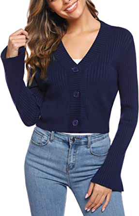 iClosam Women Cropped Bell Sleeve Shrug Crochet Button Down Cardigan Sweater