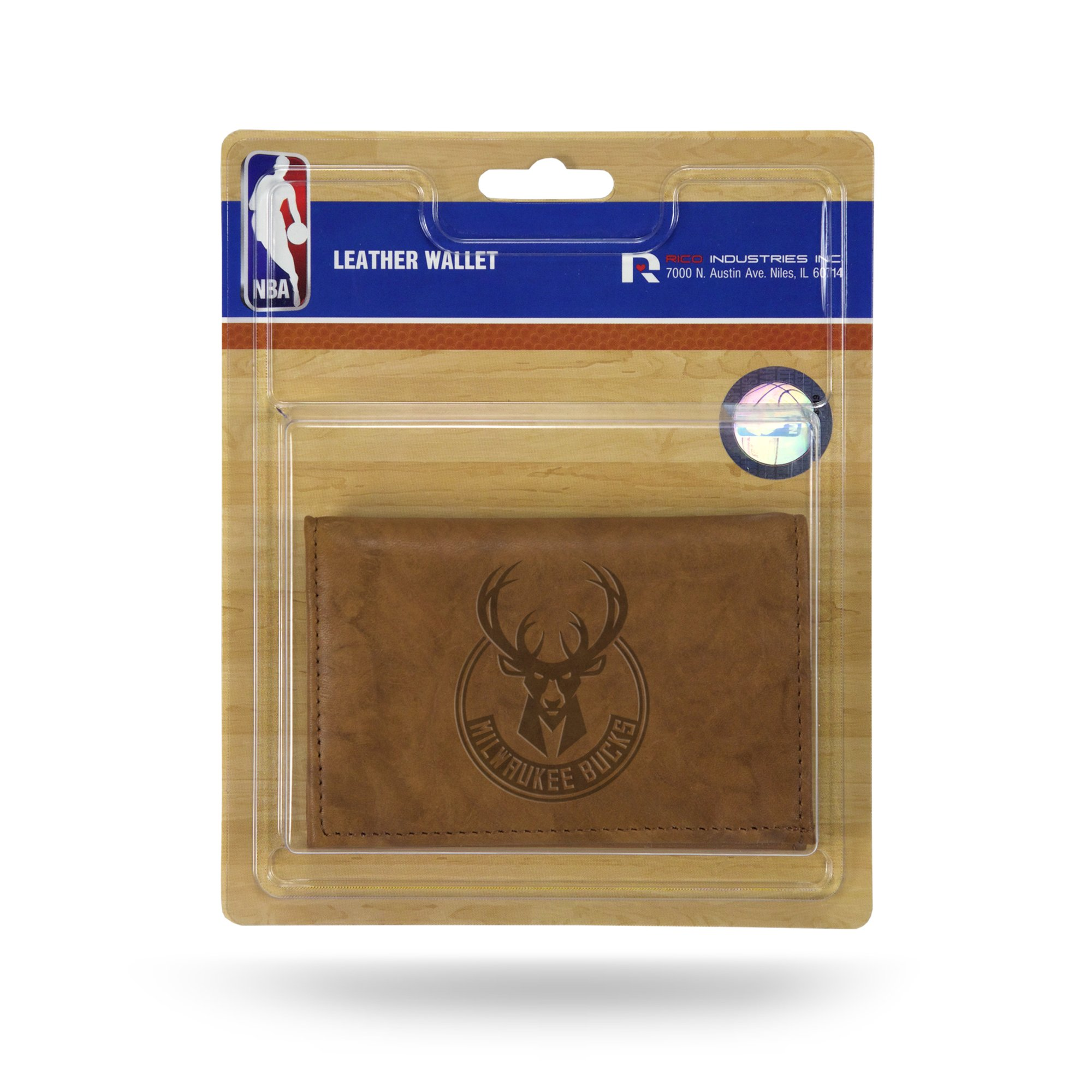 Rico NBA Milwaukee Bucks Embossed Leather Trifold Wallet with Man Made Interior