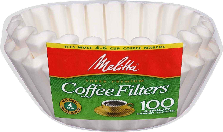 B000FKHLLQ Melitta Junior Basket Coffee Filters White 100 Count 81QfAJ5wAfL