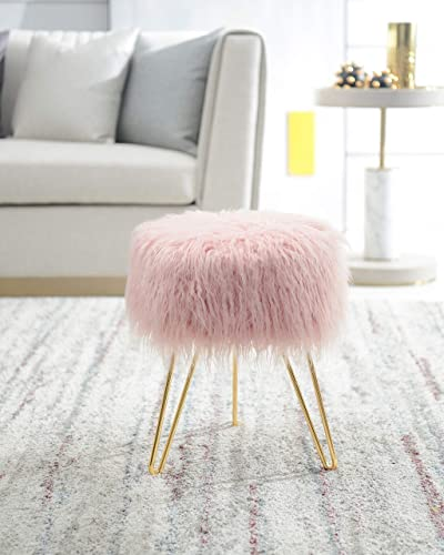 Comfortland 13 Inches Faux Fur Ottoman Seat with Gold Metal Legs, Home Modern Design Footrest, Lightweight Compact Round Foot Stool for Living Room, Bedroom, Kids Room and Dressing Room Pink