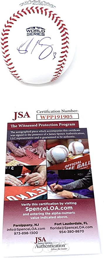 Sandy Leon Boston Red Sox Signed Autograph Official WORLD SERIES MLB Baseball JSA Witnessed Certified