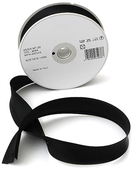Inastri - Cinta bies de satén de Acetato, 25/5/ 5 mm, Color Negro 2054