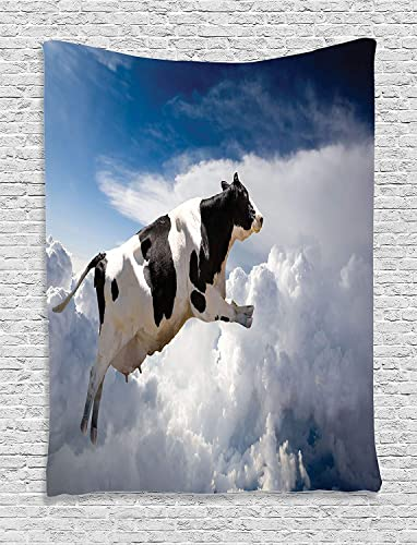 Ambesonne Rustic Tapestry, Super Cow Flying Over Clouds Fiction Imaginary Print Dairy Manufacturing Theme, Wall Hanging for Bedroom Living Room Dorm Decor, 40 X 60 , Sky Blue