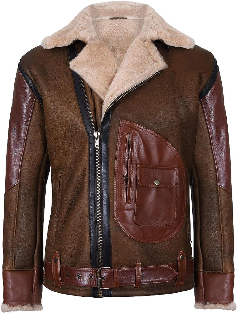 Infinity Leather Chaqueta Motera de Cuero Volador de Aviador de ...