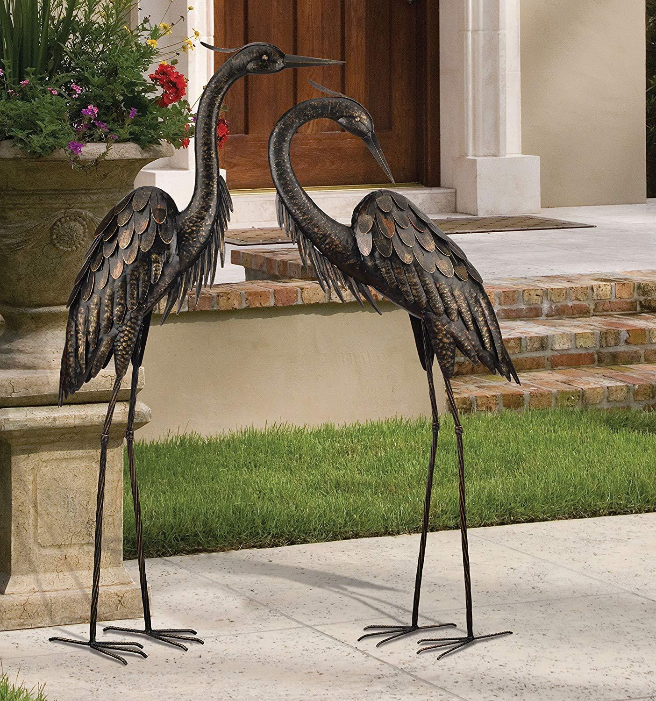 Regal Art & Gift Bronze Heron, Standing, 45'' Inch. with Preening Bronze Heron Standing, 43-Inch