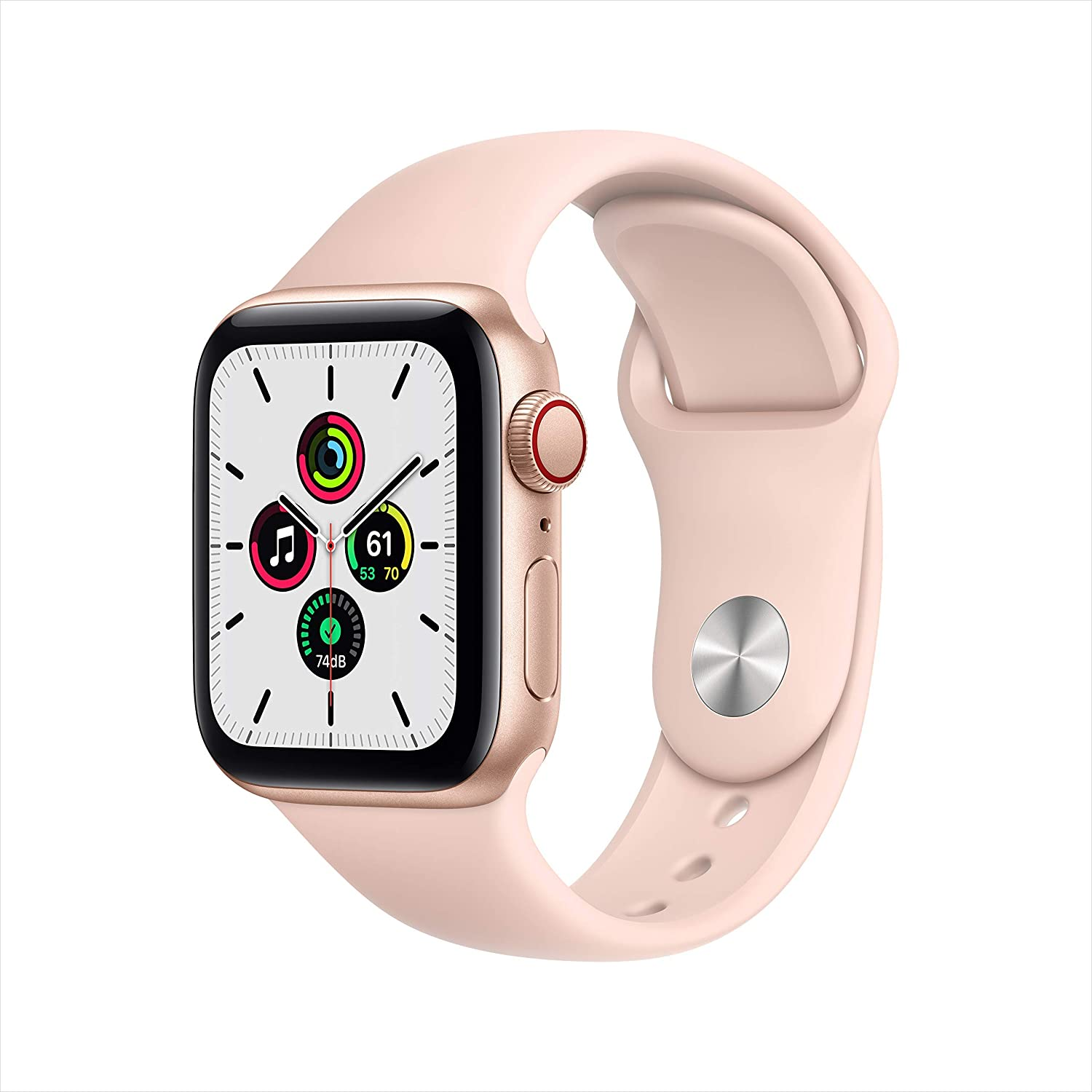 New Apple Watch SE (GPS + Cellular, 40mm) - Gold Aluminum Case with Pink Sand Sport Band (Renewed)