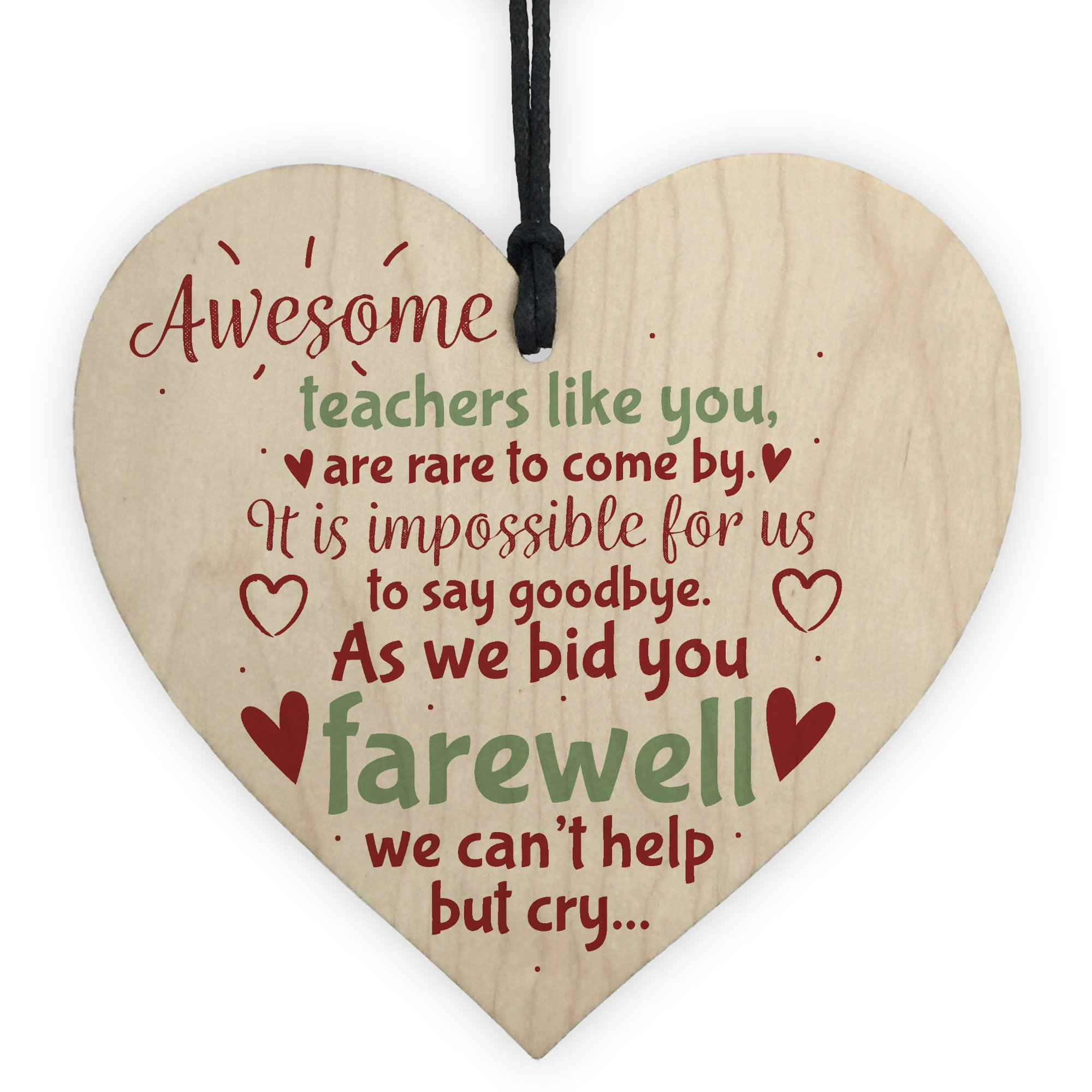 XLD Store Goodbye Teacher Gift Wooden Heart Leaving Gift Teaching Assistant Nursery School Present