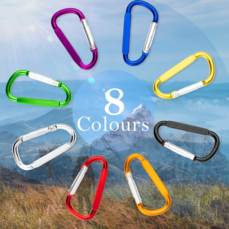 Cellulare Whaline 8 pz Portachiavi Elastico a Spirale con moschettone colorato 8 Colori Portafoglio Zaino Portachiavi Retrattile per Chiavi